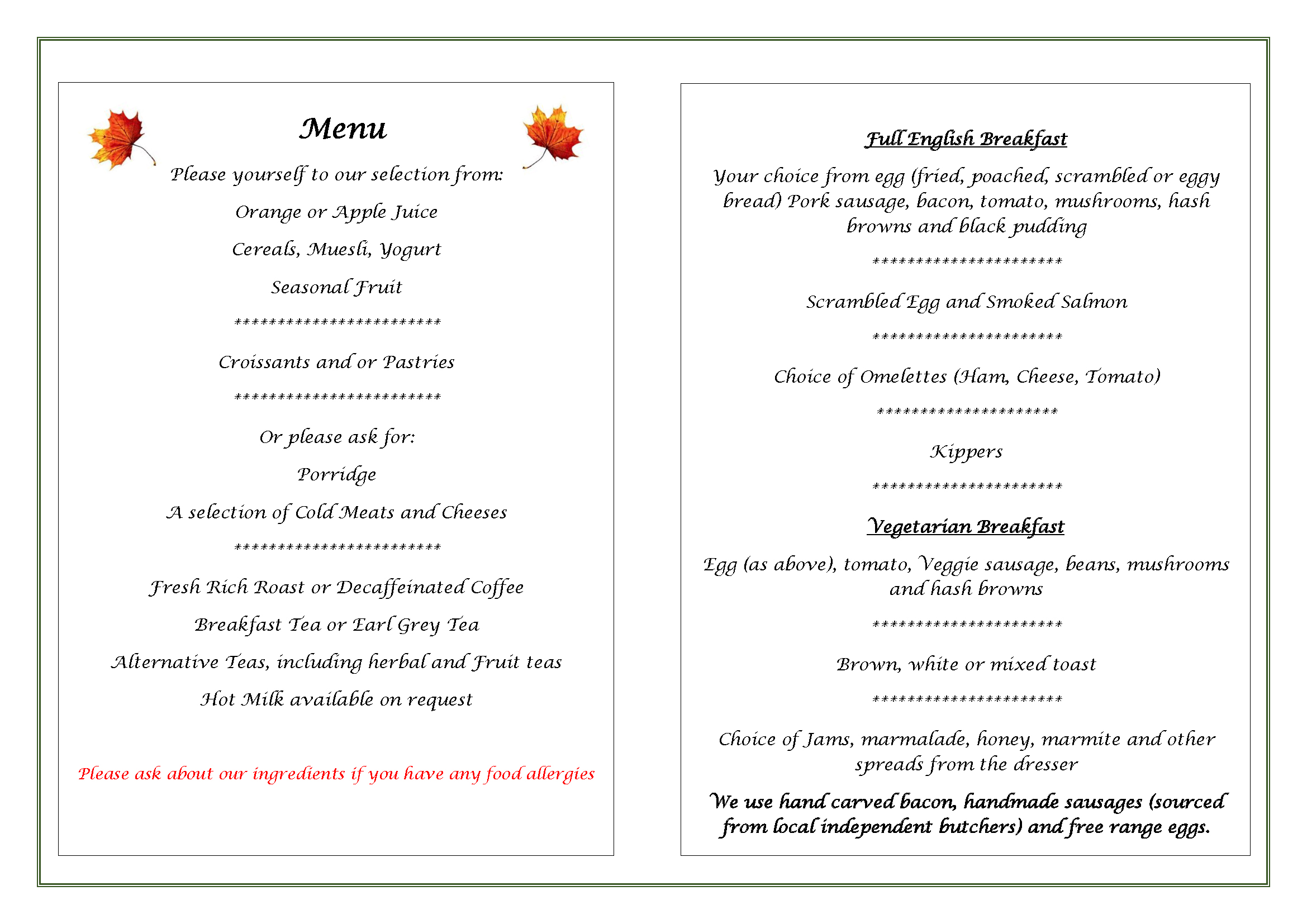 Edale House Bed and Breakfast Menu